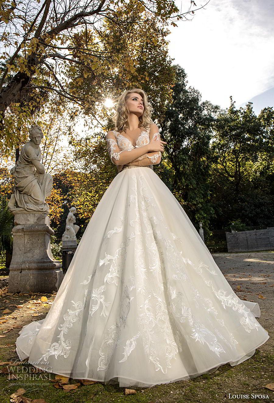 louise sposa 2018 bridal half sleeves illusion bateau v neck heavily embellished bodice princess a  line wedding dress sheer button chapel train (16) mv