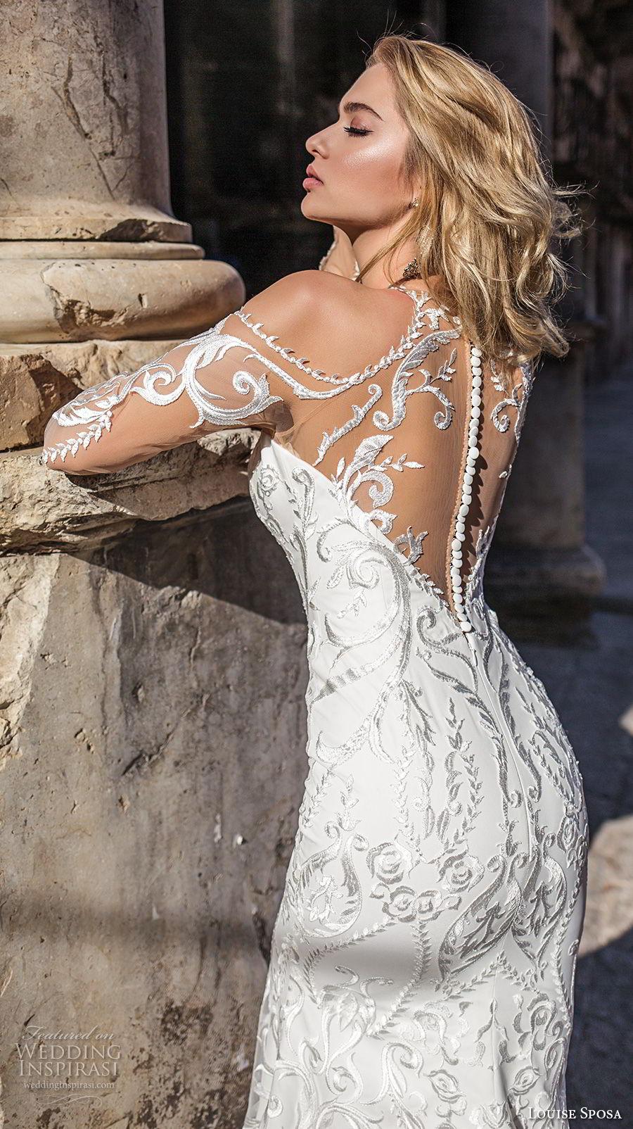 louise sposa 2018 bridal long sleeves cold shoulder halter sweetheart neck full embellishment elegant glamorous sheathw wedding dress sheer lace back medium train (12) bv