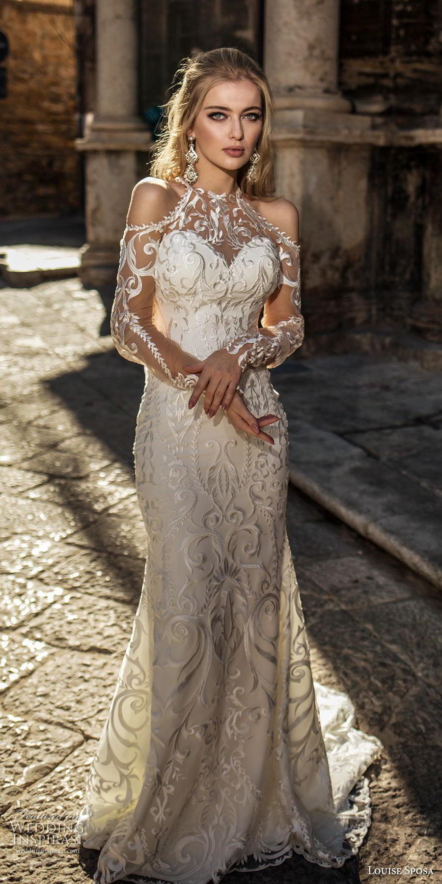 louise sposa 2018 bridal long sleeves cold shoulder halter sweetheart neck full embellishment elegant glamorous sheathw wedding dress sheer lace back medium train (12) mv