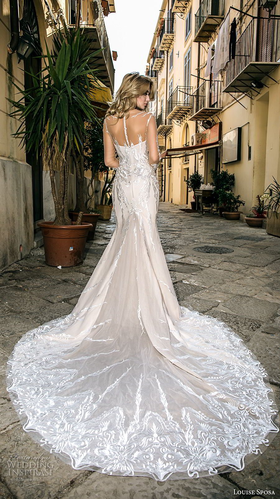 louise sposa 2018 bridal long sleeves illusion bateau sweetheart neckline full embellishment elegant fit and flare wedding dress sheer button back chapel train (23) bv