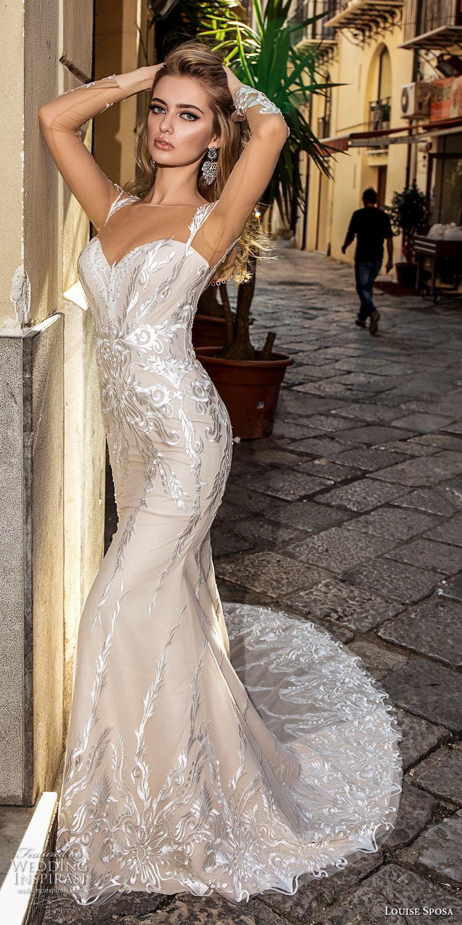 louise sposa 2018 bridal long sleeves illusion bateau sweetheart neckline full embellishment elegant fit and flare wedding dress sheer button back chapel train (23) mv