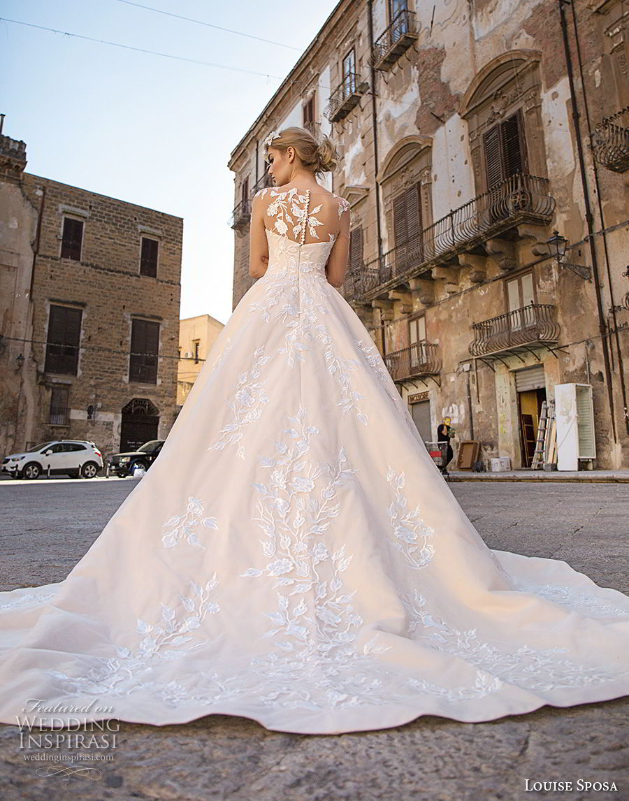 louise sposa 2018 bridal long sleeves illusion bateau sweetheart neckline full embellishment princess ball gown a  line wedding dress sheer lace back chapel train (3) bv