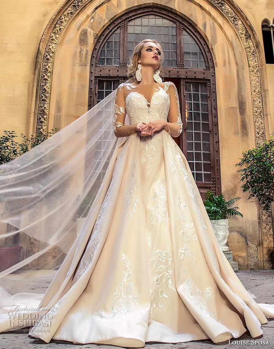 louise sposa 2018 bridal long sleeves illusion bateau sweetheart neckline full embellishment princess ball gown a  line wedding dress sheer lace back chapel train (3) mv