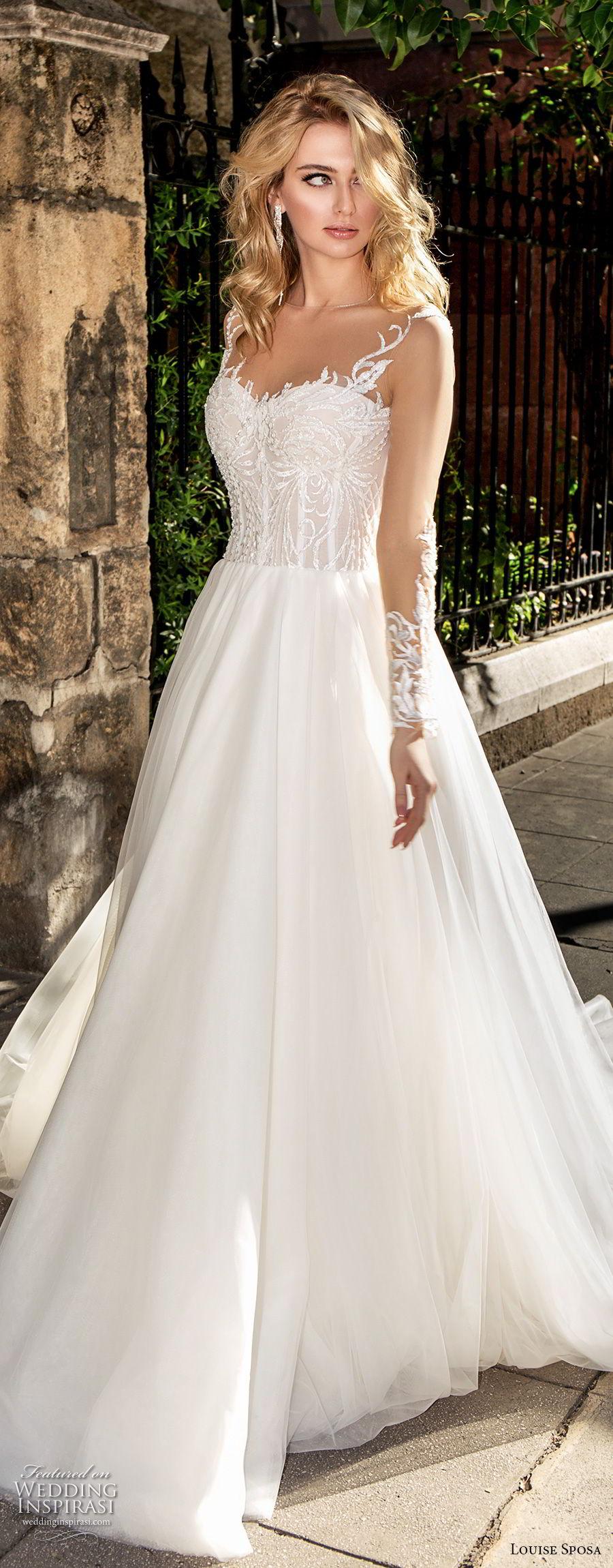 louise sposa 2018 bridal long sleeves illusion jewel sweetheart neckline heavily embellished bodice romantic a  line wedding dress sheer button back chapel train (21) mv