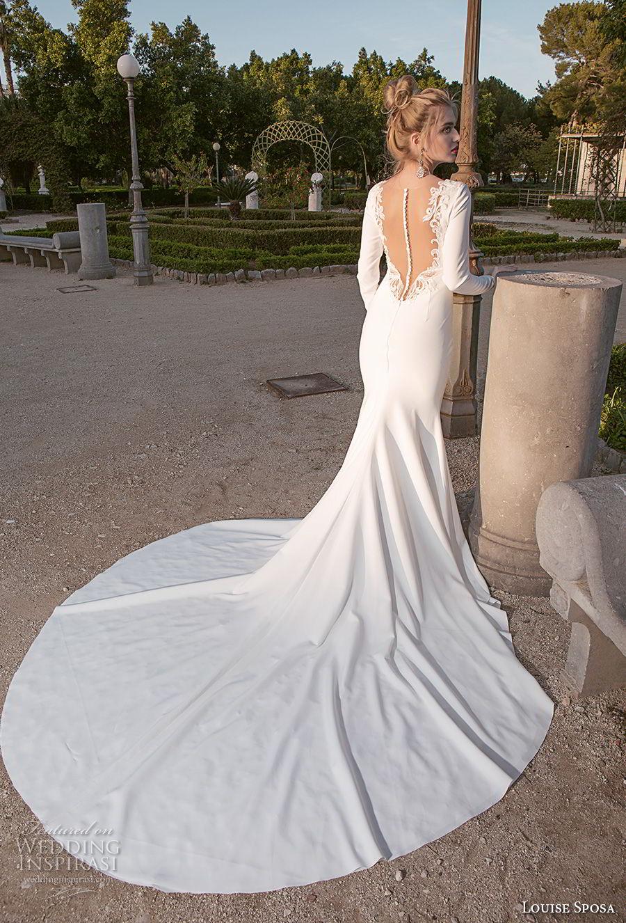 louise sposa 2018 bridal long sleeves jewel neck simple clean elegant fit and flare sheath weding dress sheer button chapel train (2) bv
