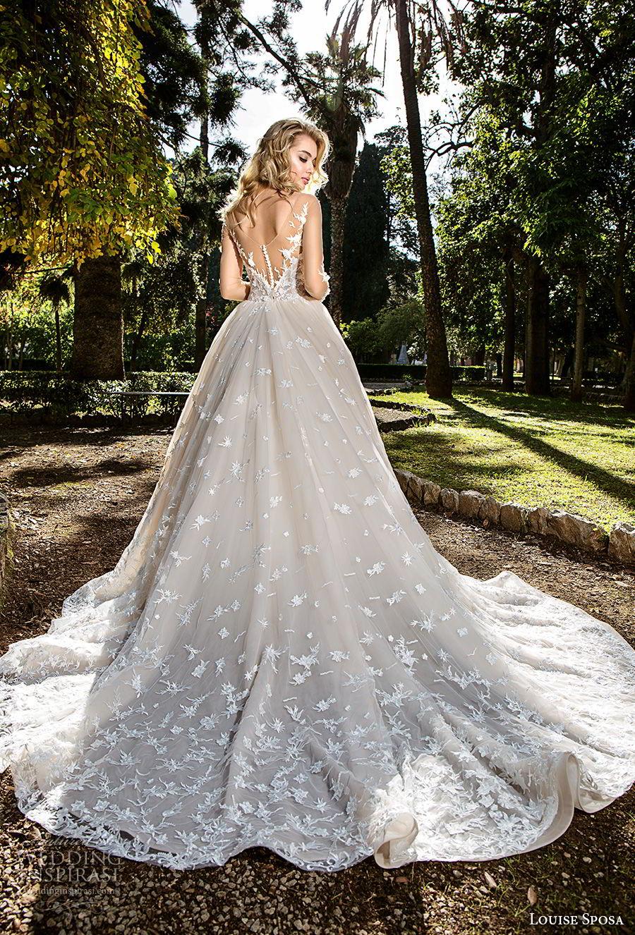 louise sposa 2018 bridal long sleeves sweetheart neckline full embellishment romantic blush color ball gown a  line wedding dress chapel train (7) bv