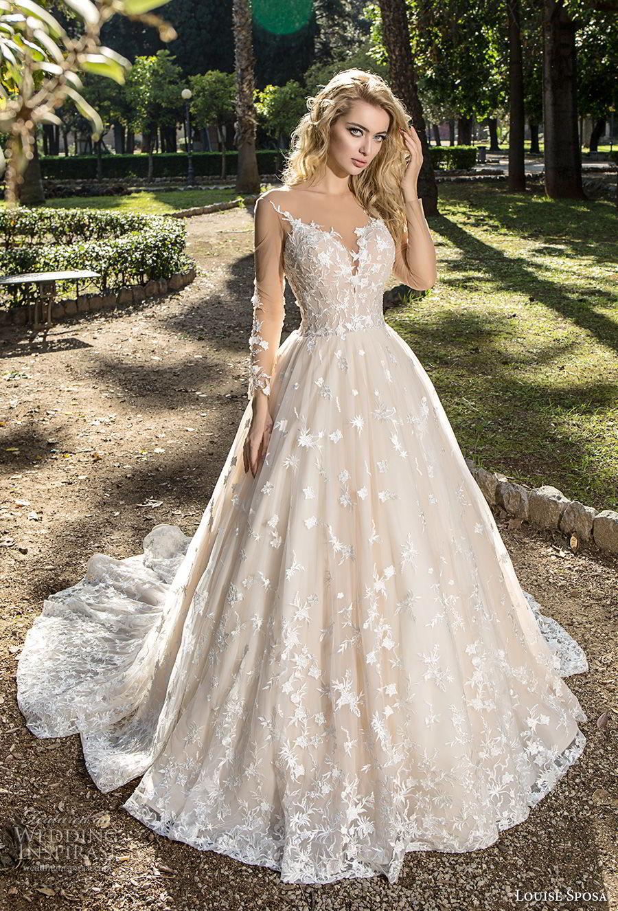 louise sposa 2018 bridal long sleeves sweetheart neckline full embellishment romantic blush color ball gown a  line wedding dress chapel train (7) mv
