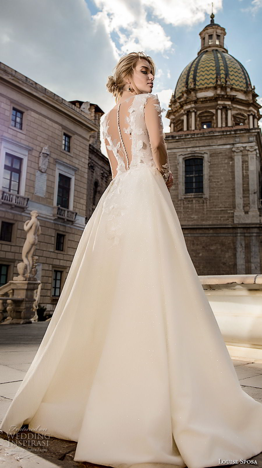 louise sposa 2018 bridal long sleeves v neck heavily embellished bodice elegant a  line wedding dress  sheer button back sweep train (11) bv
