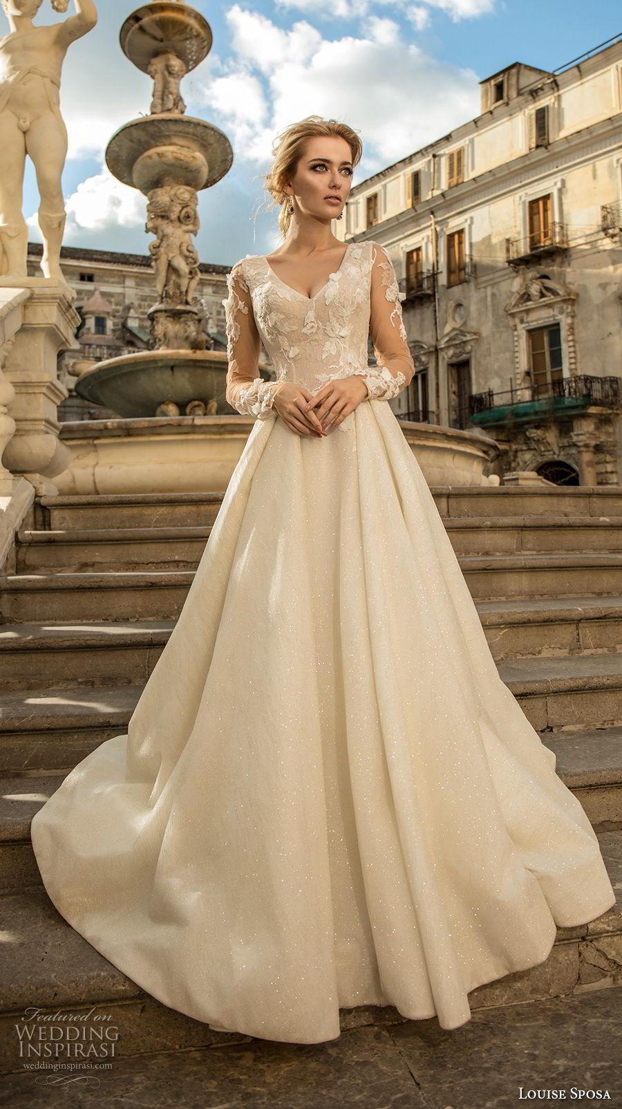 louise sposa 2018 bridal long sleeves v neck heavily embellished bodice elegant a  line wedding dress  sheer button back sweep train (11) mv