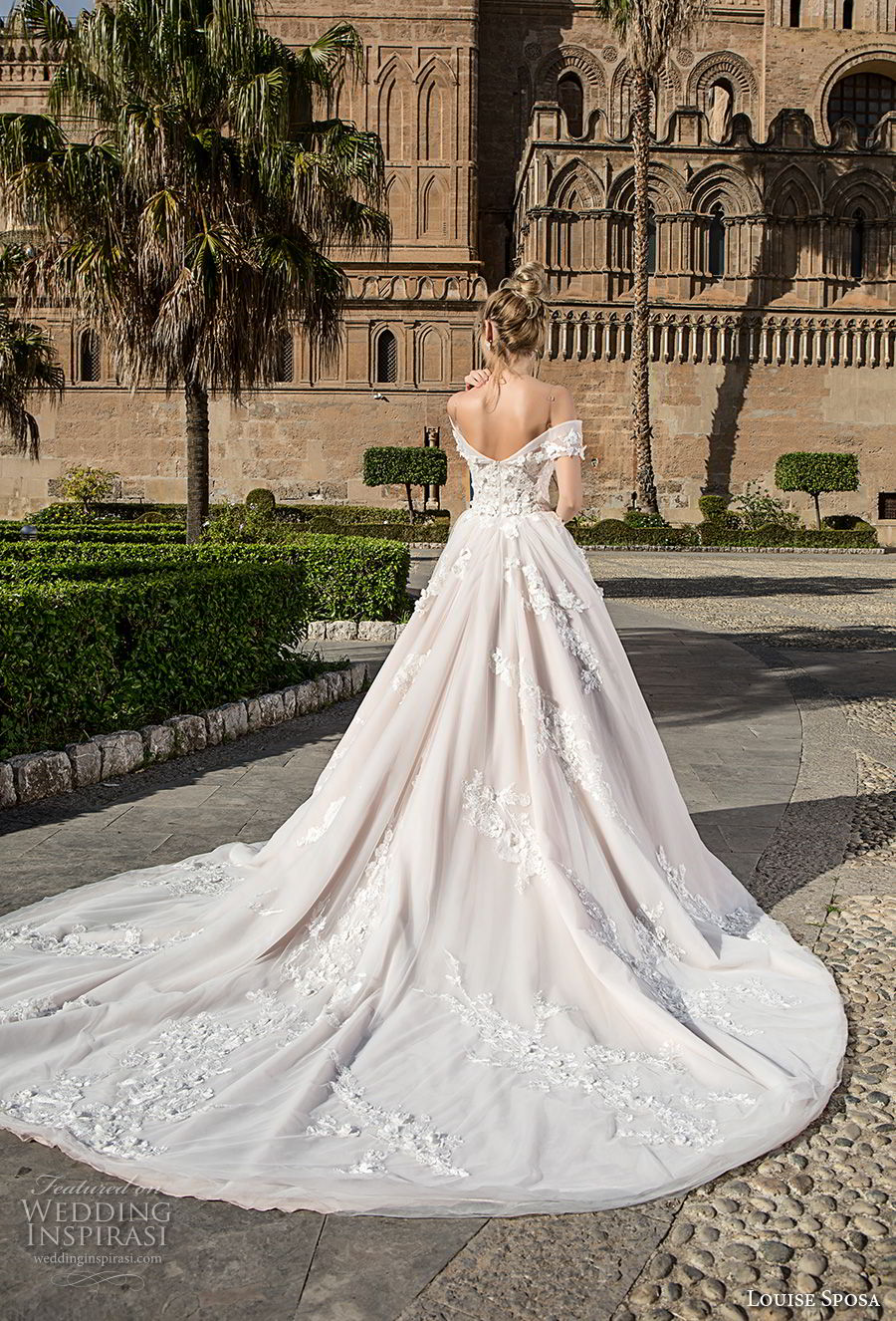 louise sposa 2018 bridal off the shoulder sweetheart neckline heavily embellished bodice romantic princess ball gown a  line wedding dress royal train (1) bv