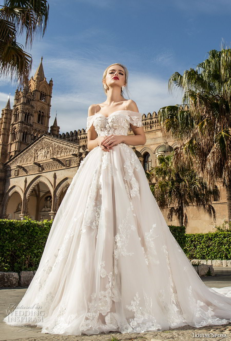 louise sposa 2018 bridal off the shoulder sweetheart neckline heavily embellished bodice romantic princess ball gown a  line wedding dress royal train (1) mv