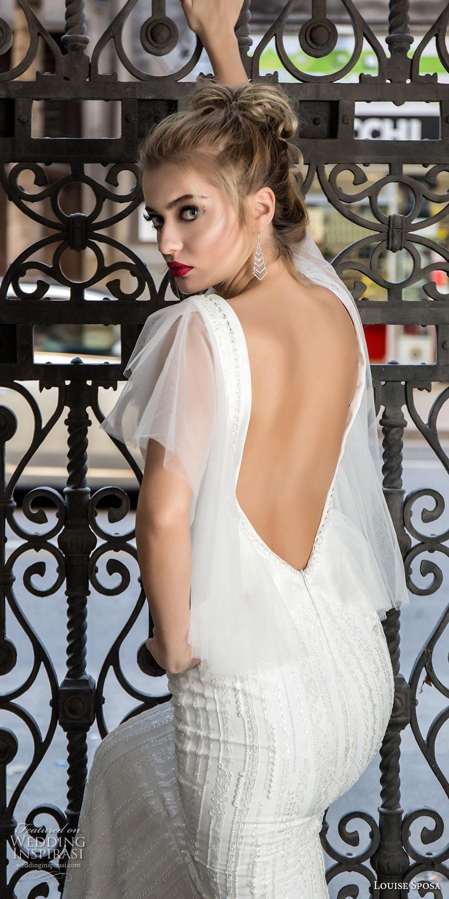louise sposa 2018 bridal short tiered sleeves deep plunging v neck full embellishment elegant sexy sheath wedding dress open low back sweep train (15) zbv