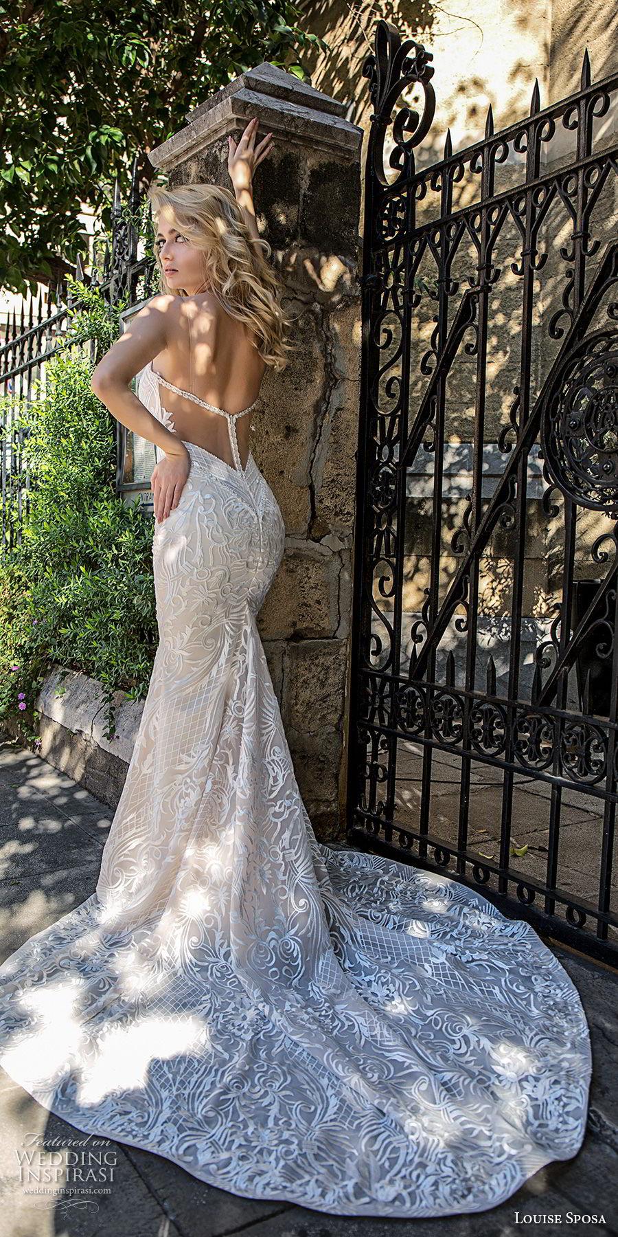 louise sposa 2018 bridal sleeveless deep plunging v neck full embellishment sexy elegant sheath wedding dress open back medium train (20) bv