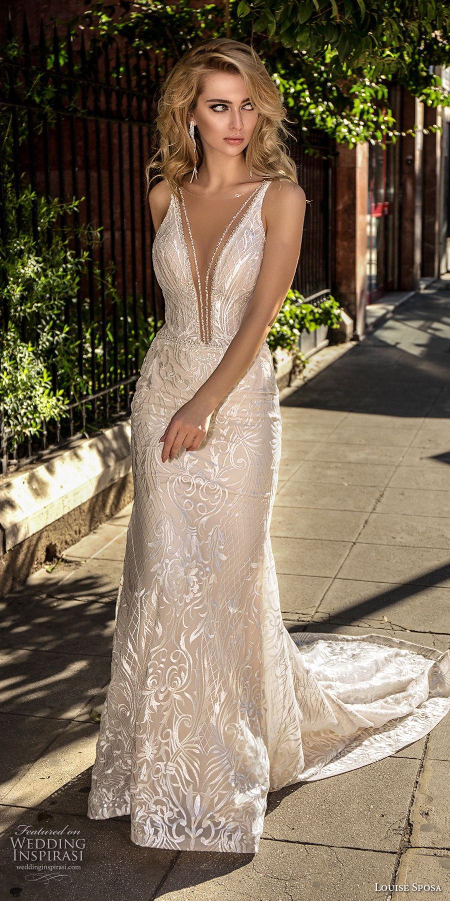 louise sposa 2018 bridal sleeveless deep plunging v neck full embellishment sexy elegant sheath wedding dress open back medium train (20) mv