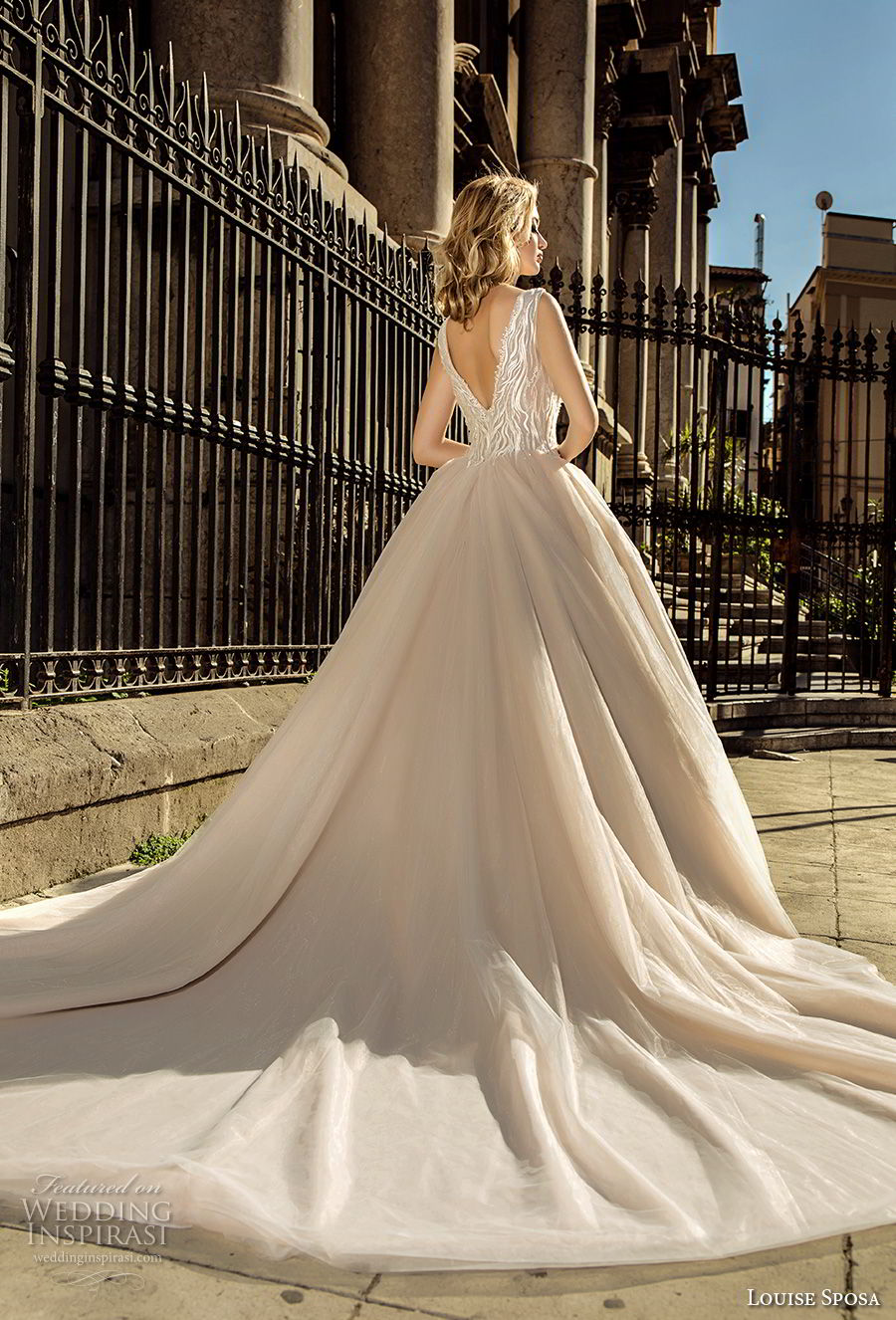 louise sposa 2018 bridal sleeveless deep plunging v neck heavily embellished bodice romantic blush color ball gown a  line wedding dress open v back chapel train (19) bv