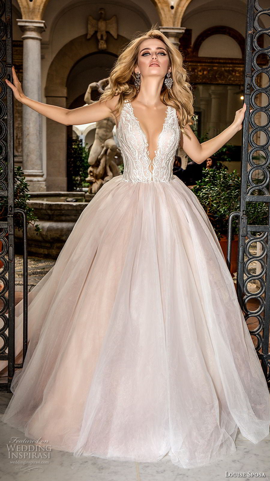 louise sposa 2018 bridal sleeveless deep plunging v neck heavily embellished bodice romantic blush color ball gown a  line wedding dress open v back chapel train (19) mv