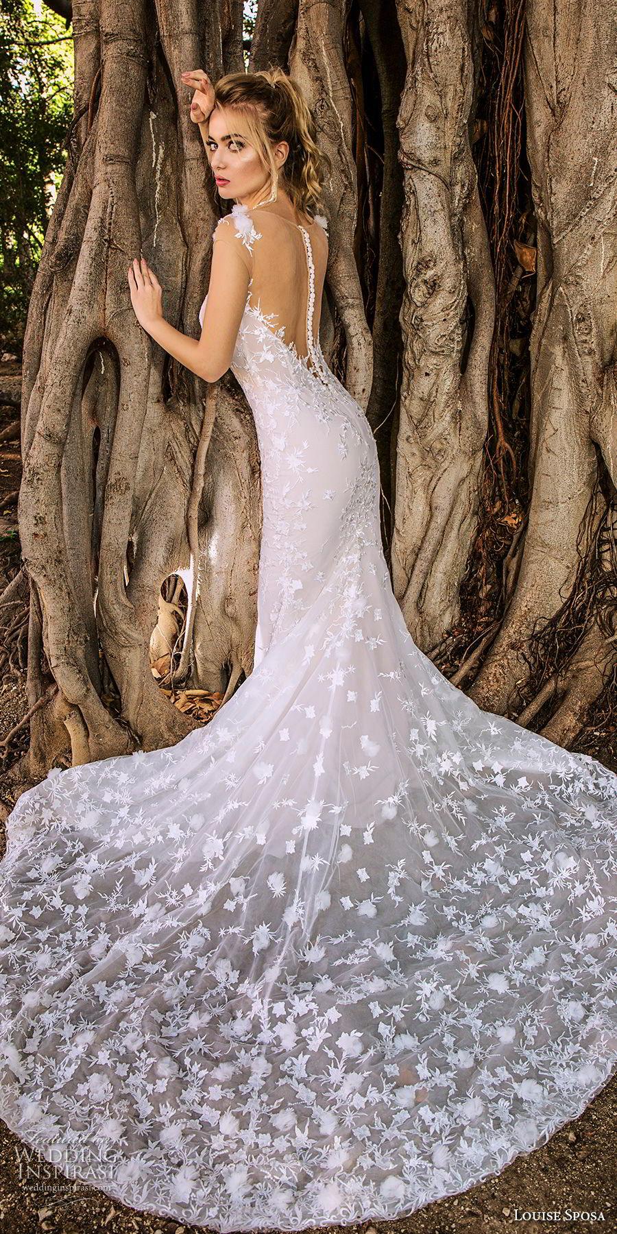 louise sposa 2018 bridal sleeveless illusion bateau deep plunging sweetheart neckline full embellishment elegant sheath wedding dress sheer button back chapel train (17) bv