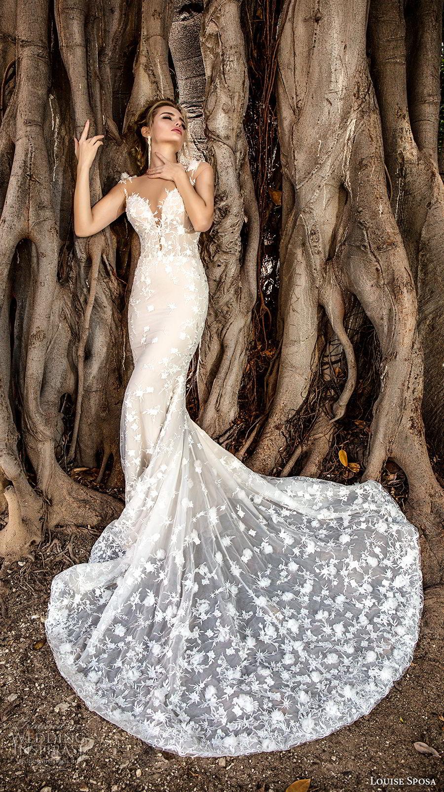 louise sposa 2018 bridal sleeveless illusion bateau deep plunging sweetheart neckline full embellishment elegant sheath wedding dress sheer button back chapel train (17) mv