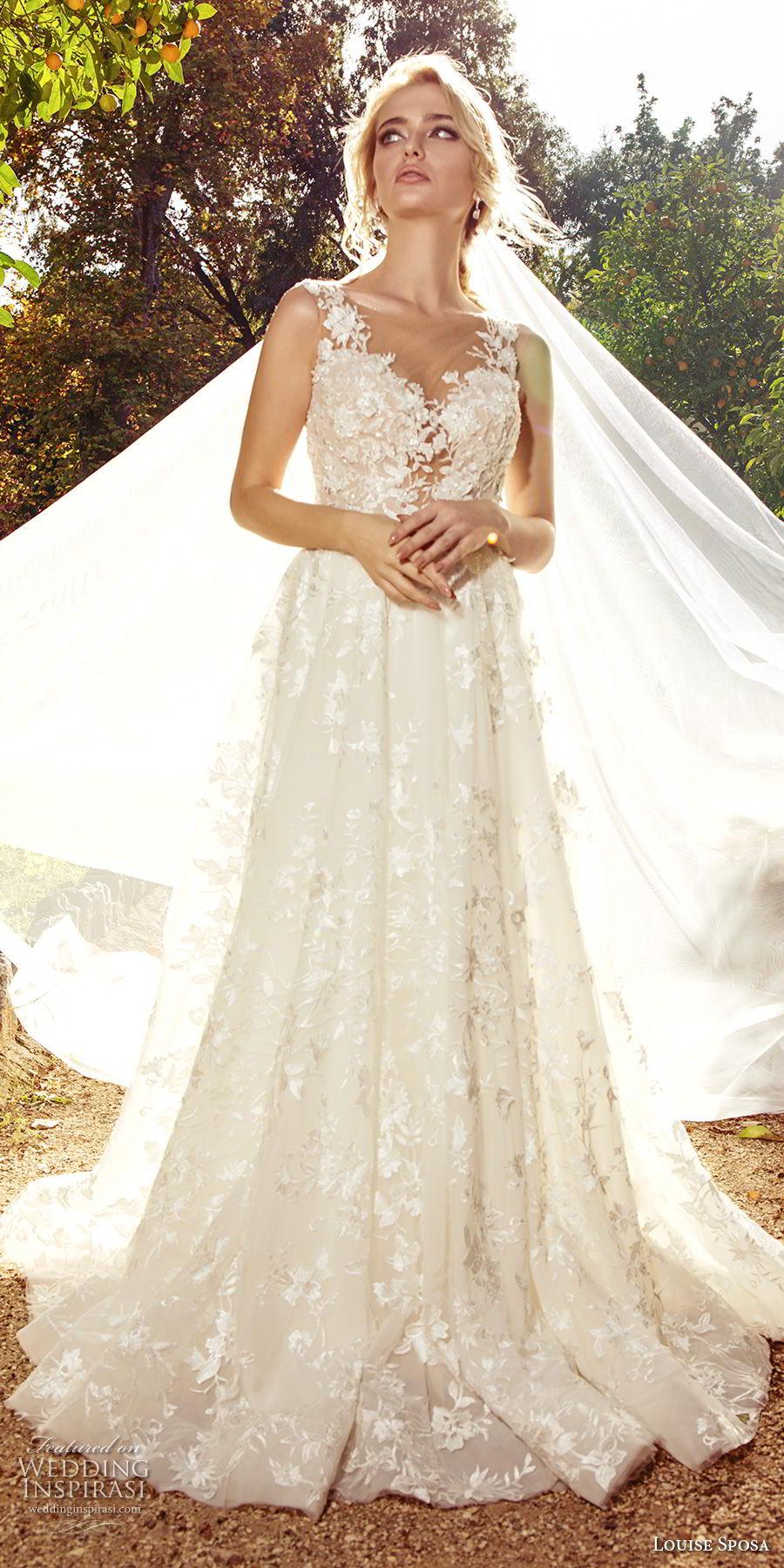 louise sposa 2018 bridal sleeveless thick strap sweetheart neckline full embellishment romantic a  line wedding dress sheer lace back sweep train (5) mv