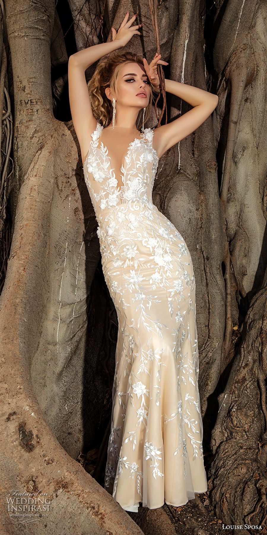 louise sposa 2018 bridal sleeveless with strap deep plunging sweetheart neckline full embellishment elegant fit and flare sheath wedding dress sheer button back sweep train (6) mv