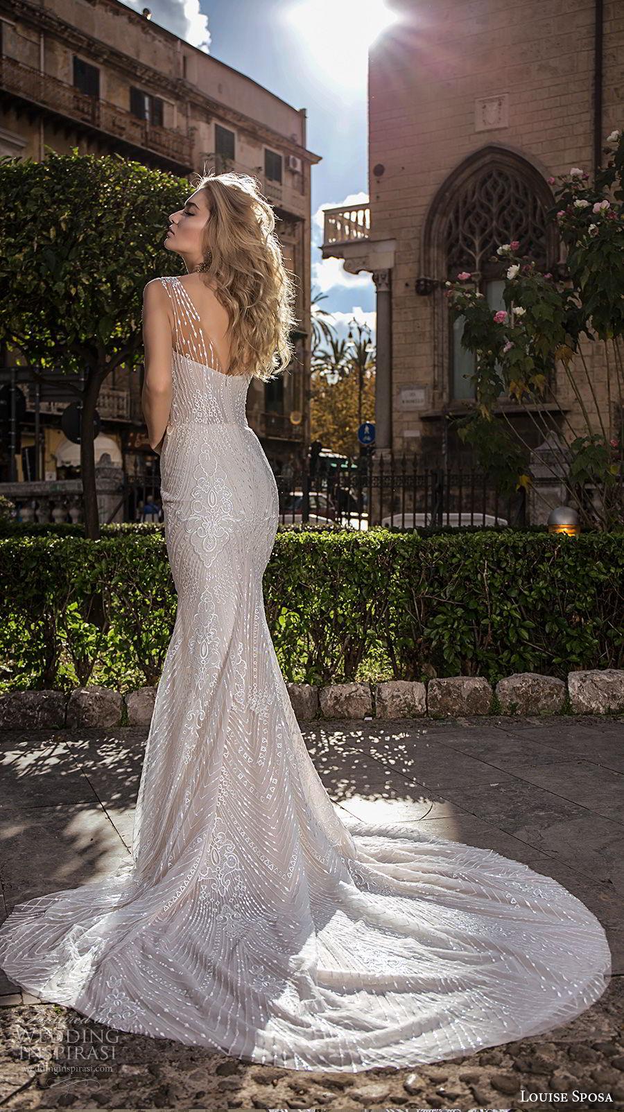 louise sposa 2018 bridal sleeveless with strap deep plunging v neck full embellishment fit and flare sheath wedding dress medium train (9) bv