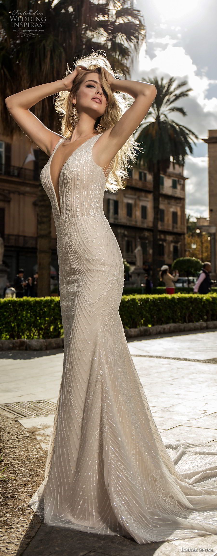 louise sposa 2018 bridal sleeveless with strap deep plunging v neck full embellishment fit and flare sheath wedding dress medium train (9) mv