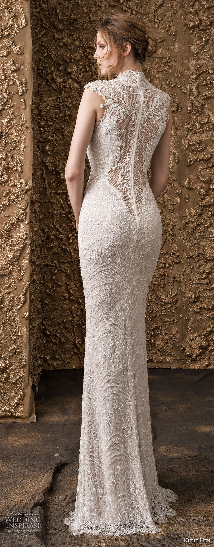 nurit hen 2018 bridal cap sleeves high jewel neck full embellishment elegant sheath wedding dress lace back sweep train (15) bv