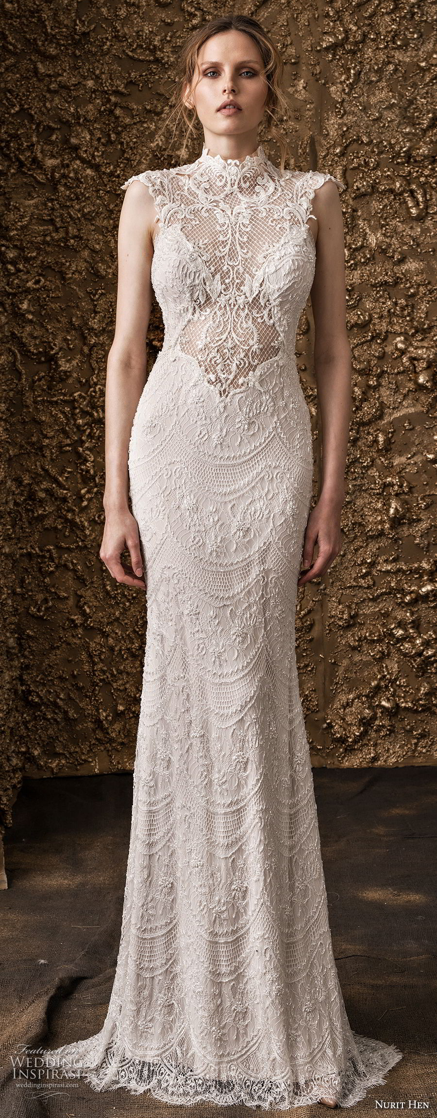 nurit hen 2018 bridal cap sleeves high jewel neck full embellishment elegant sheath wedding dress lace back sweep train (15) mv