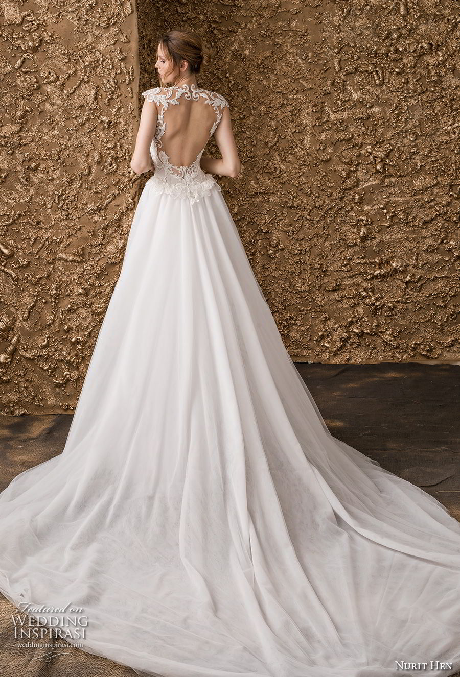 nurit hen 2018 bridal cap sleeves illusion jewel deep plunging sweetheart neckline elegant princess fit and flare wedding dress a  line overskirt keyhole back royal train (2) bv