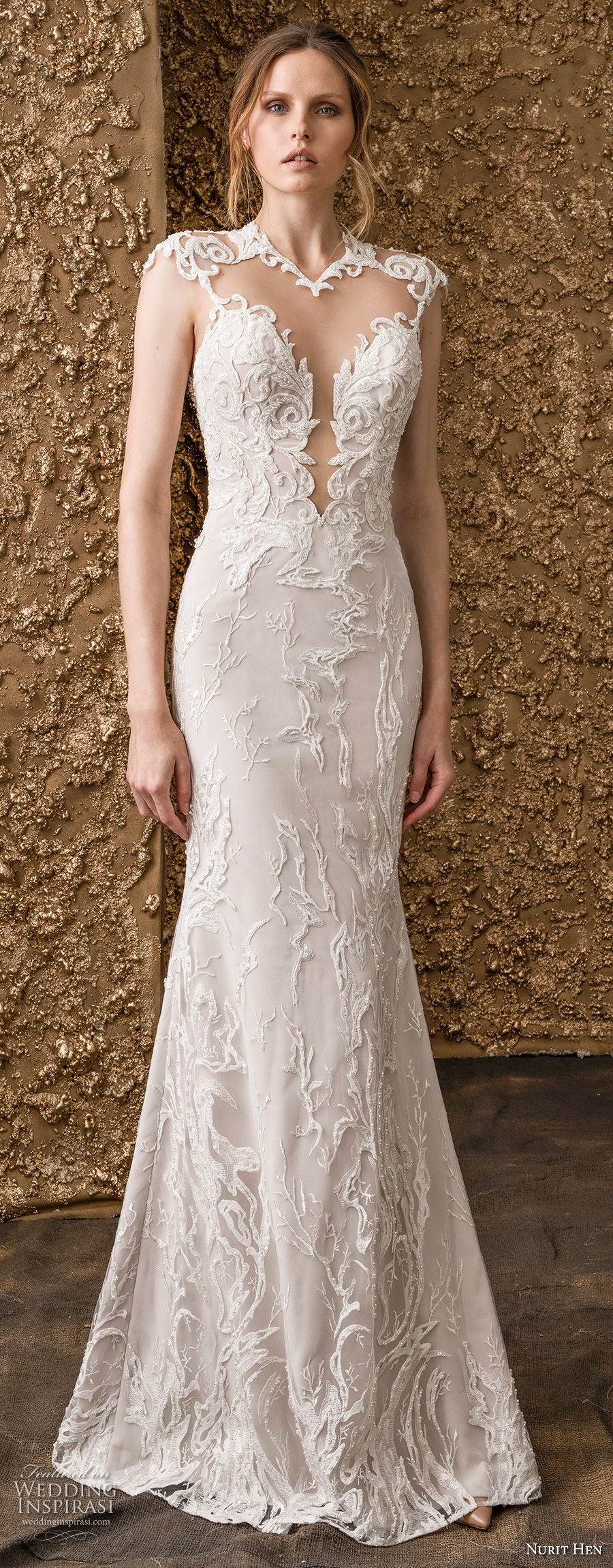 nurit hen 2018 bridal cap sleeves illusion jewel deep plunging sweetheart neckline elegant princess fit and flare wedding dress a  line overskirt keyhole back royal train (2) mv