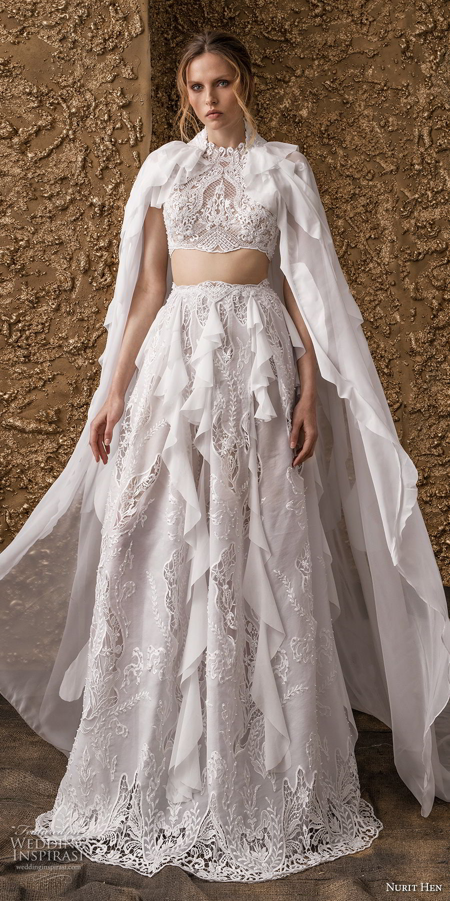 nurit hen 2018 bridal cold shoulder short sleeves high jewel neck full embellishment crop top bohemian modified a  line wedding dress covered lace back sweep train (12) mv