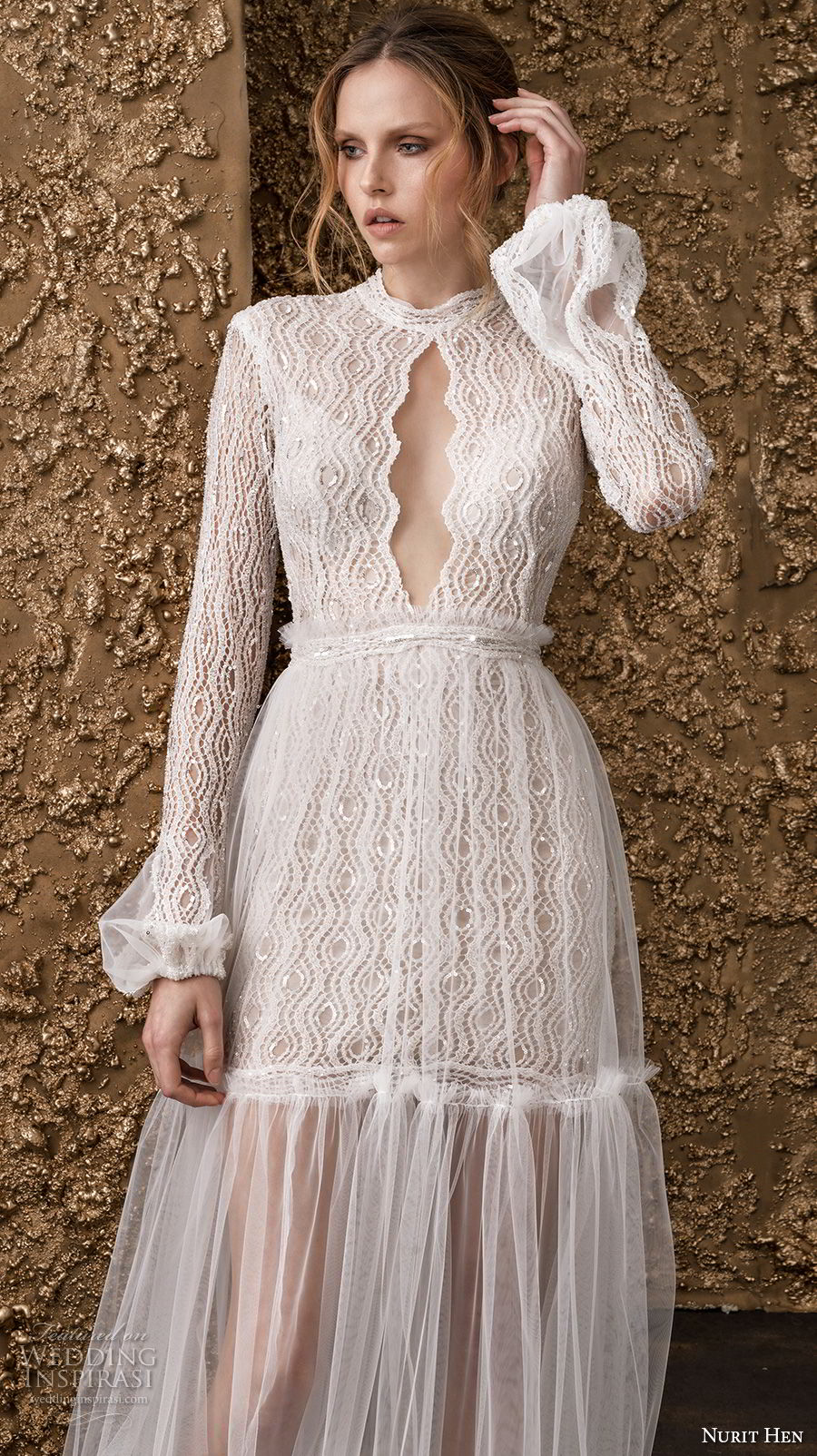 nurit hen 2018 bridal long sleeves high jewel neck keyhole neckline full embellishment bohemian soft a  line wedding dress covered lace back sweep train (9) zv
