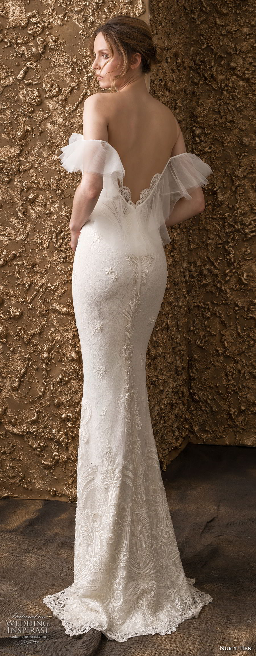 nurit hen 2018 bridal off the shoulder deep sweetheart neckline heavily embellished bodice romantic sheath wedding dress sweep train (14) bv