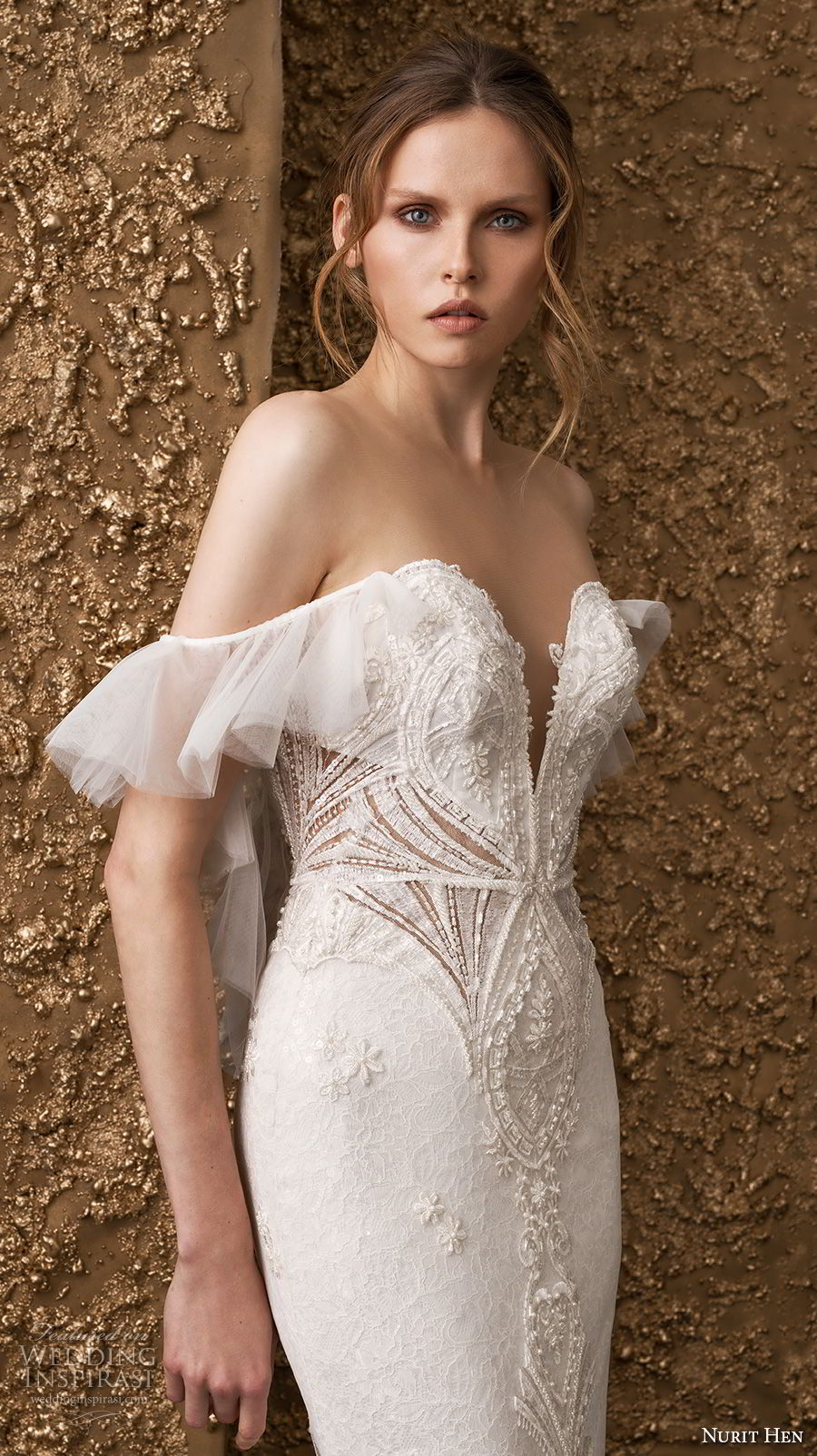 nurit hen 2018 bridal off the shoulder deep sweetheart neckline heavily embellished bodice romantic sheath wedding dress sweep train (14) mv zv