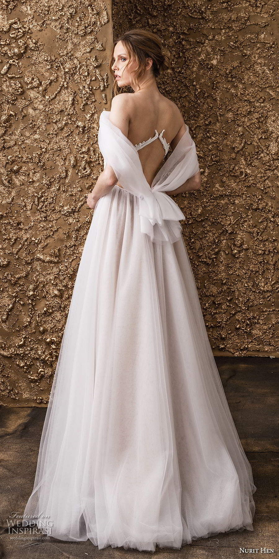 nurit hen 2018 bridal off the shoulder deep v neck ruched bodice romantic soft a  line wedding dress sweep train (4) bv
