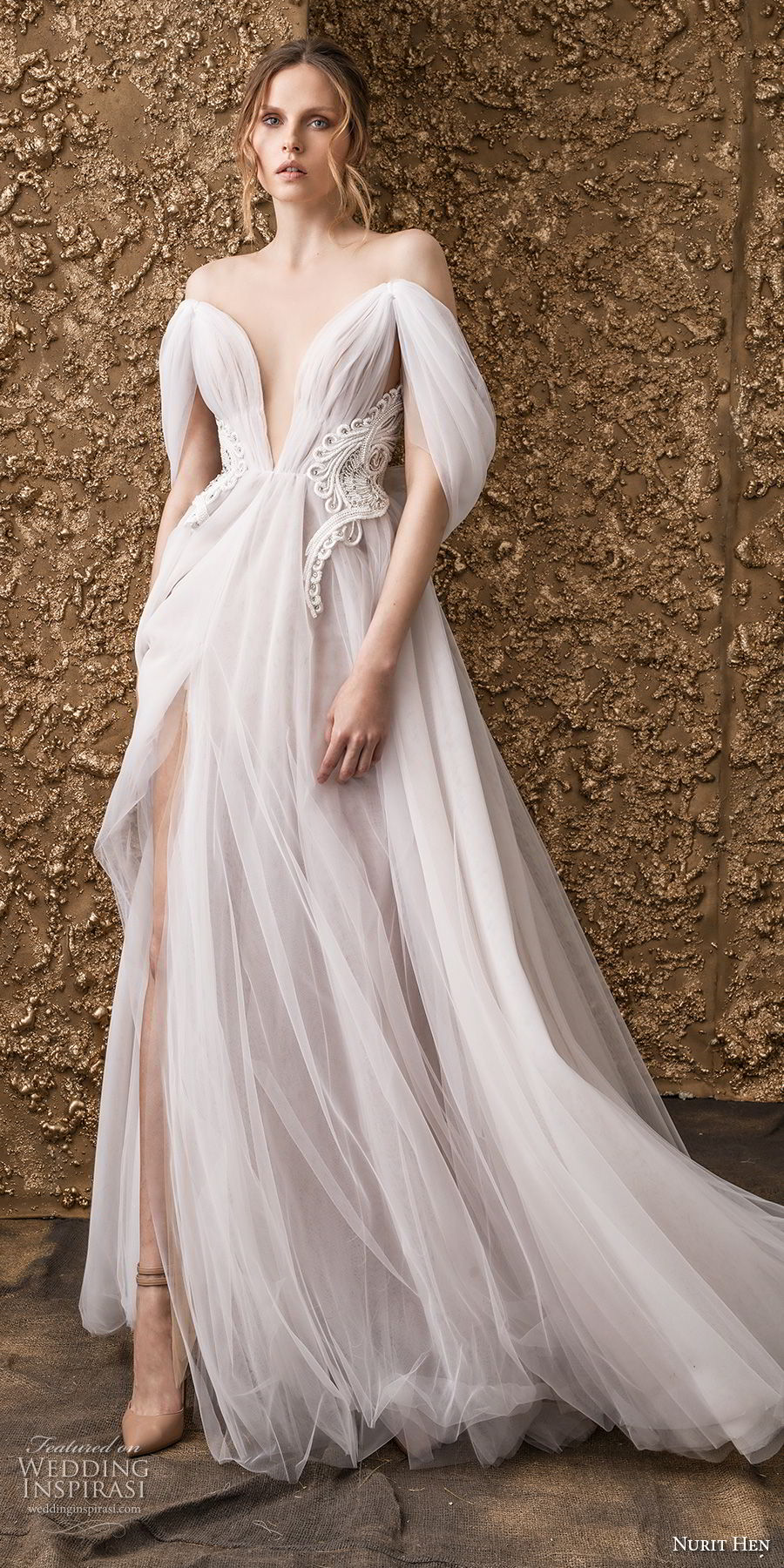 nurit hen 2018 bridal off the shoulder deep v neck ruched bodice romantic soft a  line wedding dress sweep train (4) mv