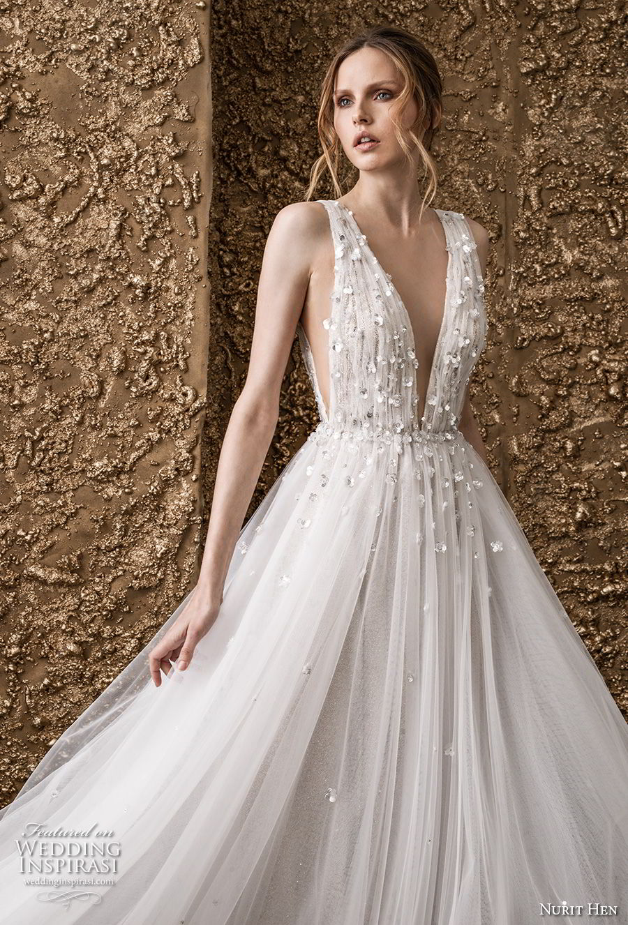 nurit hen 2018 bridal sleeveless deep v neck heavily embellished bodice side open romantic soft a  line wedding dress open v back sweep train (5) zv
