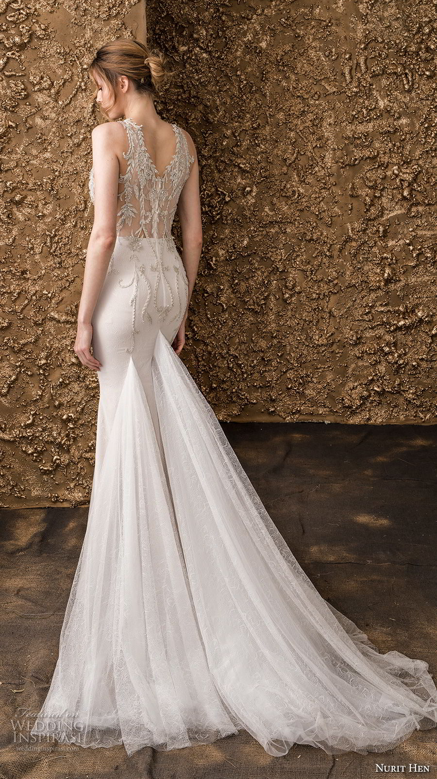 nurit hen 2018 bridal sleeveless halter neck sweetheart neckline heavily embellished bodice glamorous elegant drop waist a  line wedding dress lace back chapel train (10) bv
