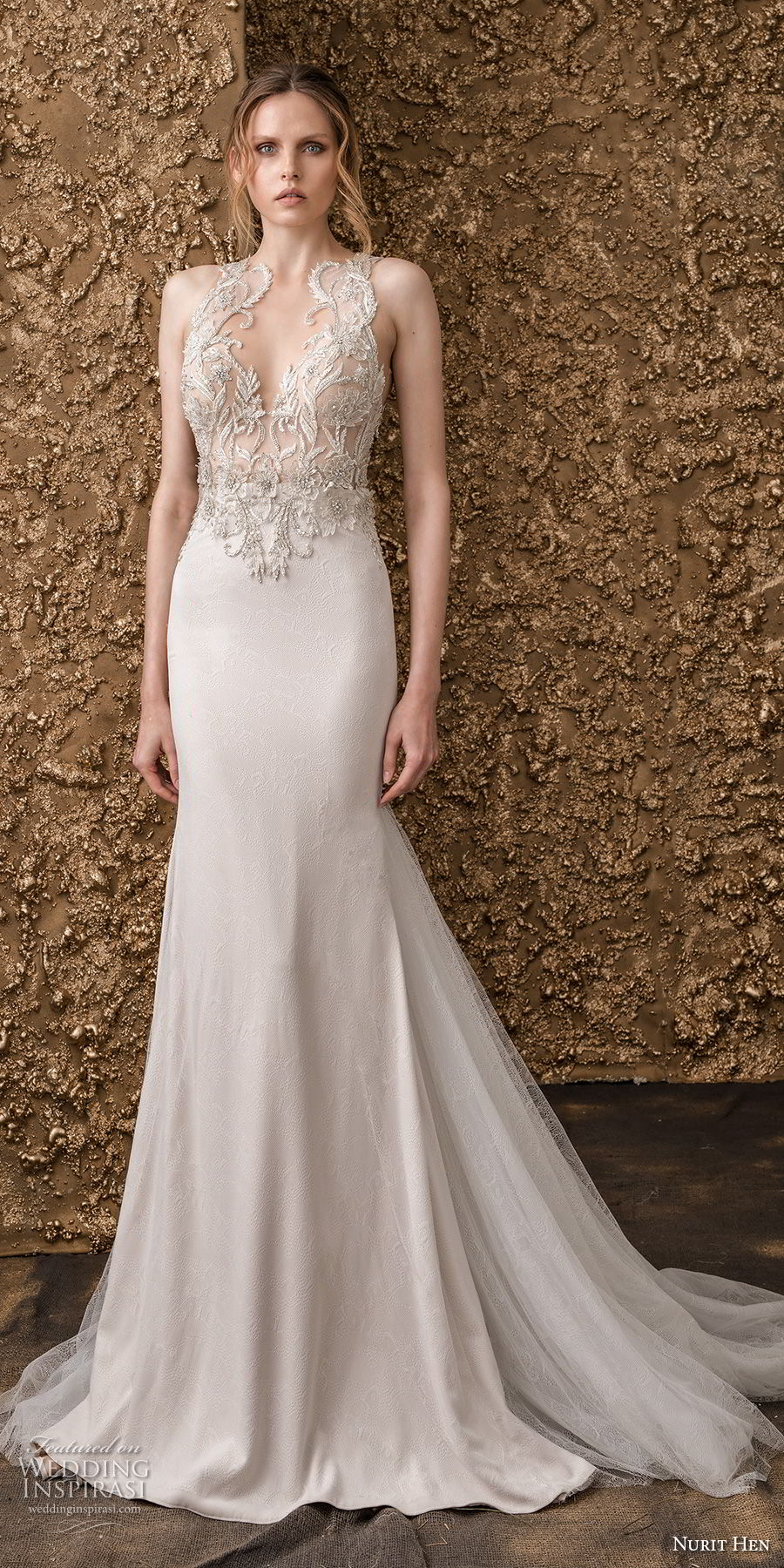nurit hen 2018 bridal sleeveless halter neck sweetheart neckline heavily embellished bodice glamorous elegant drop waist a  line wedding dress lace back chapel train (10) mv