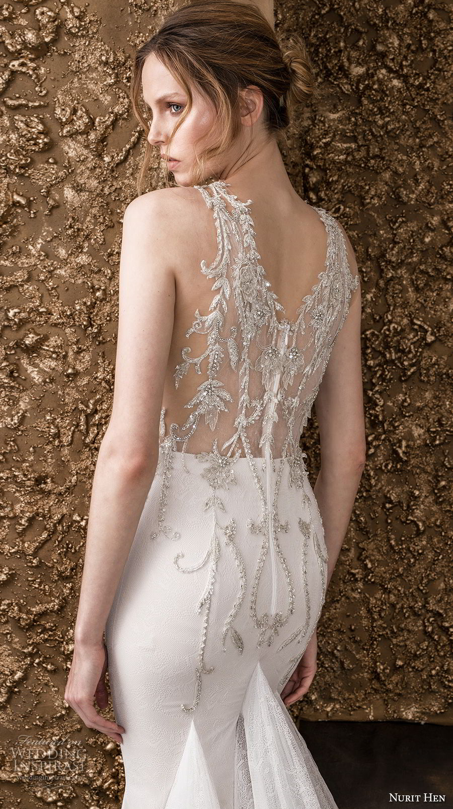 nurit hen 2018 bridal sleeveless halter neck sweetheart neckline heavily embellished bodice glamorous elegant drop waist a  line wedding dress lace back chapel train (10) zbv