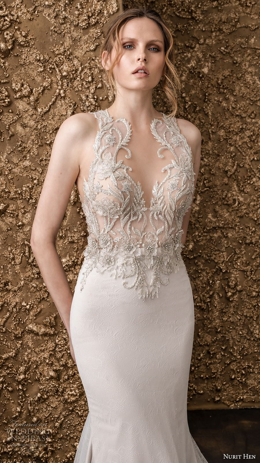 nurit hen 2018 bridal sleeveless halter neck sweetheart neckline heavily embellished bodice glamorous elegant drop waist a  line wedding dress lace back chapel train (10) zv