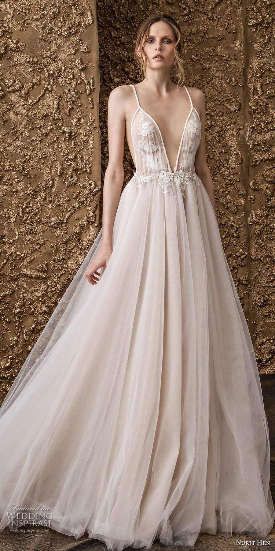 nurit hen 2018 bridal sleeveless spaghetti strap deep v neck heavily embellished bodice romantic soft a  line wedding dress open back sweep train (6) mv