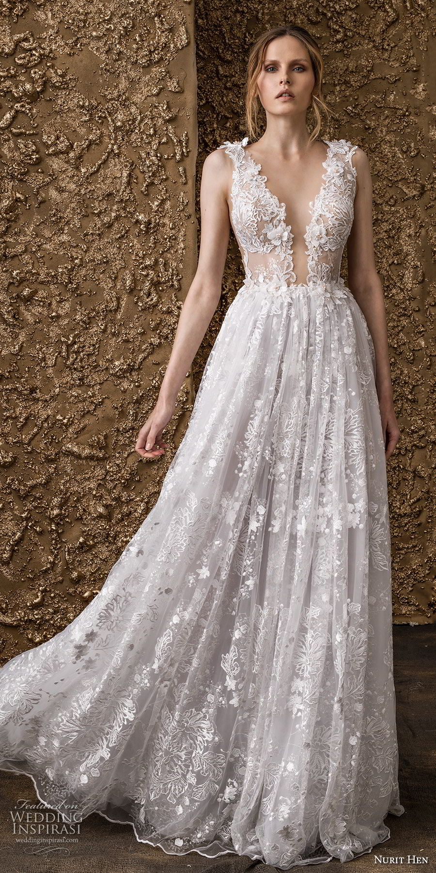 nurit hen 2018 bridal sleeveless thick strap deep plunging v neck full embellishment romantic sot a  line wedding dress sheer button back sweep train (8) mv