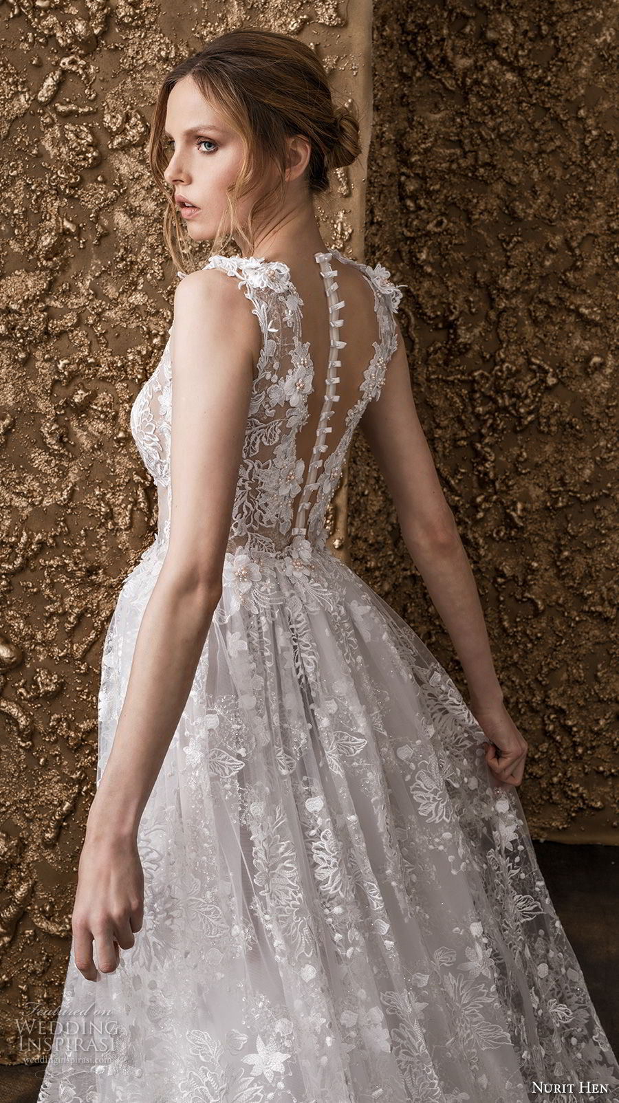 nurit hen 2018 bridal sleeveless thick strap deep plunging v neck full embellishment romantic sot a  line wedding dress sheer button back sweep train (8) zbv