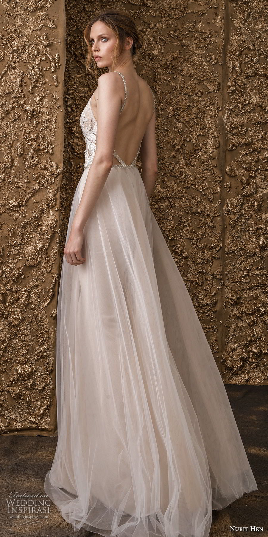 nurit hen 2018 bridal sleeveless thin strap deep v neck heavily embellished bodice romantic a  line wedding dress open back sweep train (11) bv