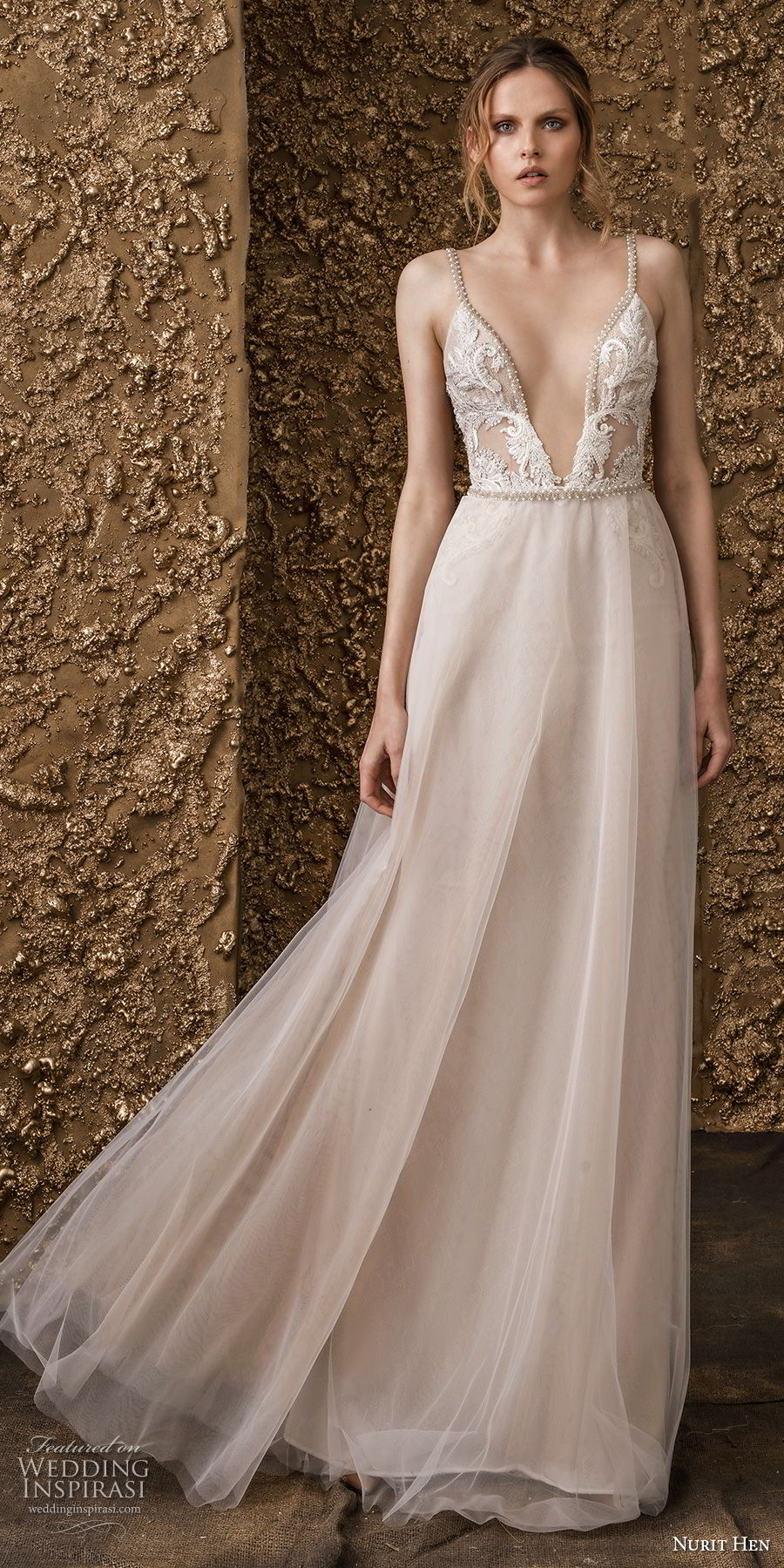 nurit hen 2018 bridal sleeveless thin strap deep v neck heavily embellished bodice romantic a  line wedding dress open back sweep train (11) mv