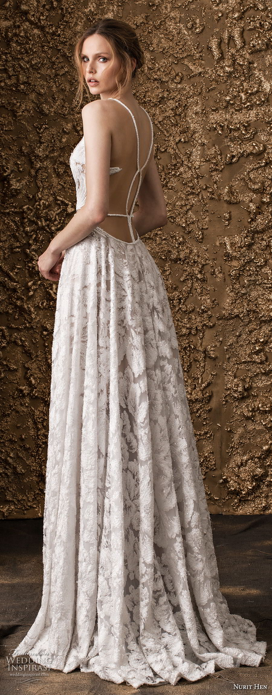 nurit hen 2018 bridal sleeveless thin strap full embellishment elegant modified a  line wedding dress open strap back sweep train (17) bv
