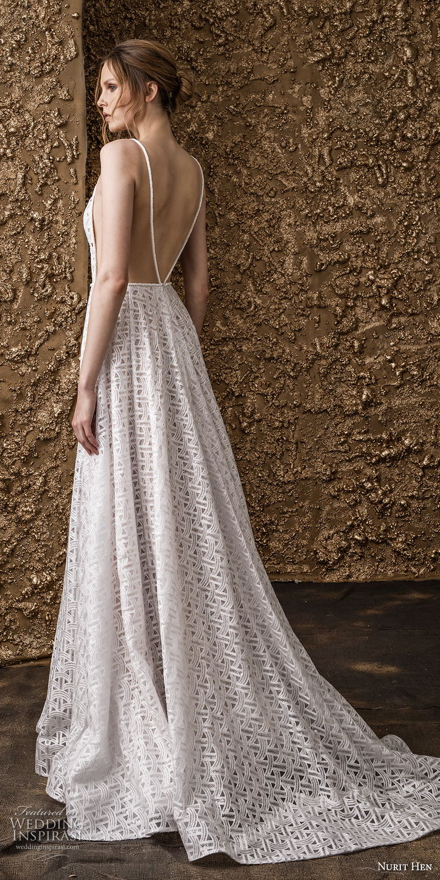 nurit hen 2018 bridal spaghetti strap dee v neck full embellishement side open romantic a  line wedding dress open back sweep train (7) bv