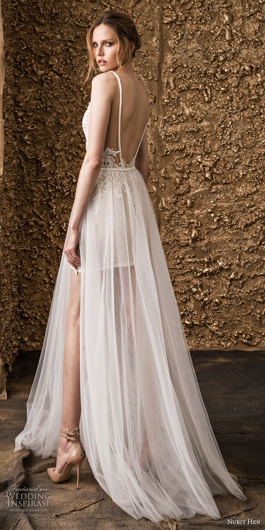 nurit hen 2018 bridal spaghetti strap deep v neck full embellishment  modern romantic short wedding dress a  line overskirt open back sweep train (16) bv