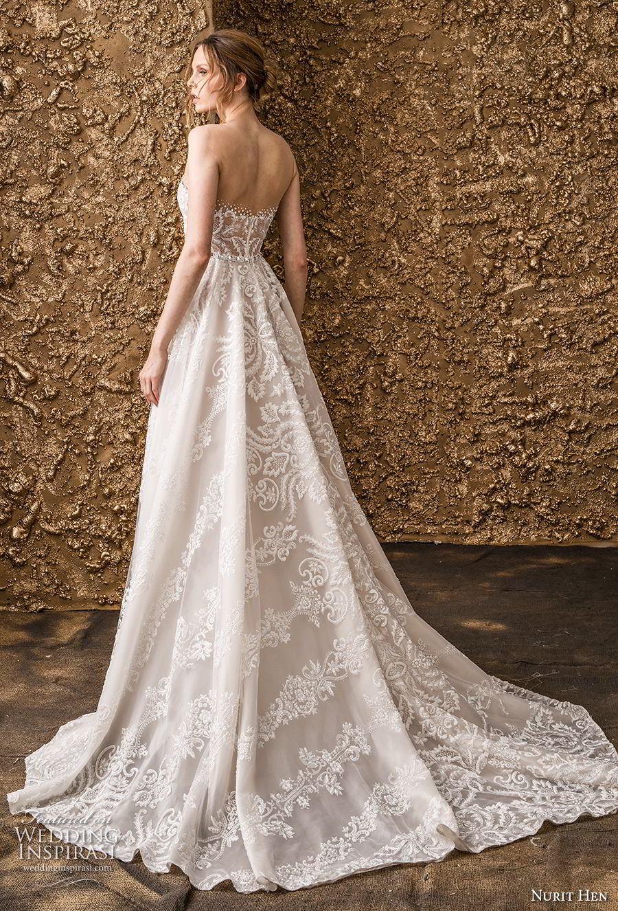 nurit hen 2018 bridal strapless straight across neckline full embellishment romantic a  line wedding dress sweep train (1) bv